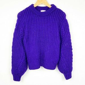 Topshop chunky knit puff sleeve sweater pullover